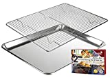 KITCHENATICS Baking Sheet with Cooling Rack: Half Aluminum Cookie Pan Tray with Stainless Steel Wire and Roasting Rack - 13.1' x 17.9', Heavy Duty Commercial Quality