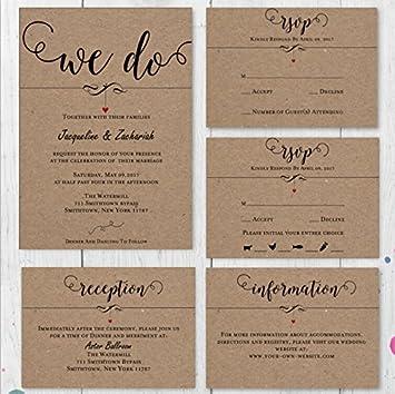 Customized Wedding Invitation Response Cards R S V P Details Set Of 50 Pcs