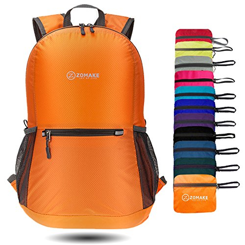 ZOMAKE Ultra Lightweight Packable Backpack Water Resistant Hiking Daypack,Small Backpack Handy Foldable Camping Outdoor Backpack Little Bag (Orange)