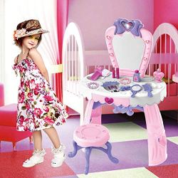 "Airpow Girls Dressing Table Playset | Dress-Up Vanities Play Set with Lights & Sound, Plastic Mirror and 7.5"" Stool 