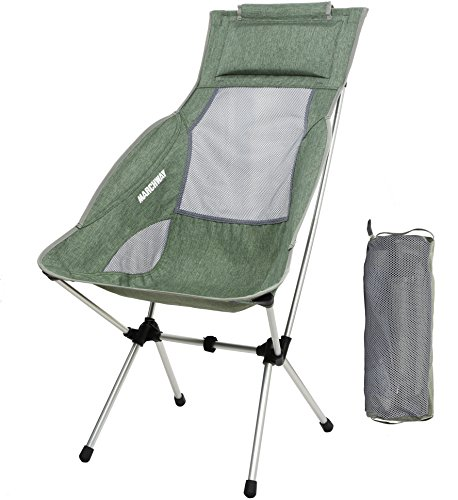Lightweight Folding High Back Camping Chair with Headrest, Portable Compact for Outdoor Camp, Travel, Picnic, Festival, Hiking, Backpacking (Light Green)