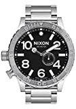 Nixon 51-30 Tide Silver/Black Waterproof & Durable Men's Stainless Steel Watch (51mm. Black Face/Silver Stainless Steel Band)