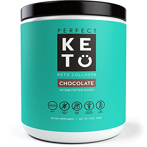 Perfect Keto Protein Powder - Pure Grass-fed Collagen Peptides & MCT Oil Low Carb Protein - Vital For Ketosis & Ketogenic Diets - Meal Replacement Shake for Women & Men. Chocolate