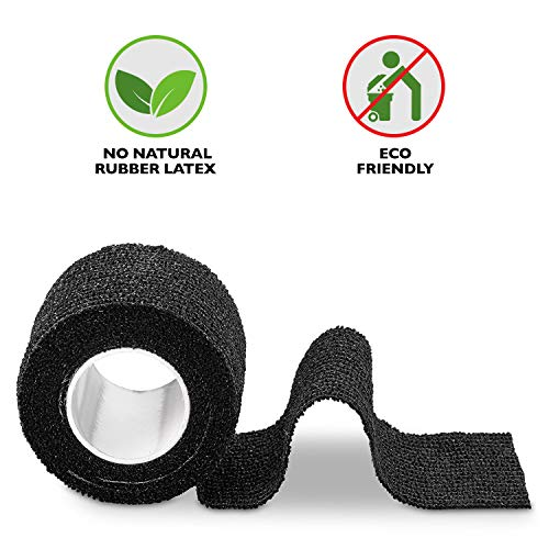 Self-Adherent Cohesive Bandage – 12 Pack Bulk | Black Self-Adhering Medical Wrap | 2″ Wide x 5 Yards Athletic Sports Tape Sweat & Water Resistant, First Aid deal 50% off 51J56VSG4OL
