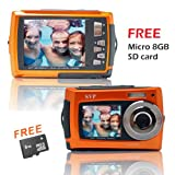 SVP Aqua 5800 Orange (with Micro 8GB) 18MP Dual Screen Waterproof Digital Camera