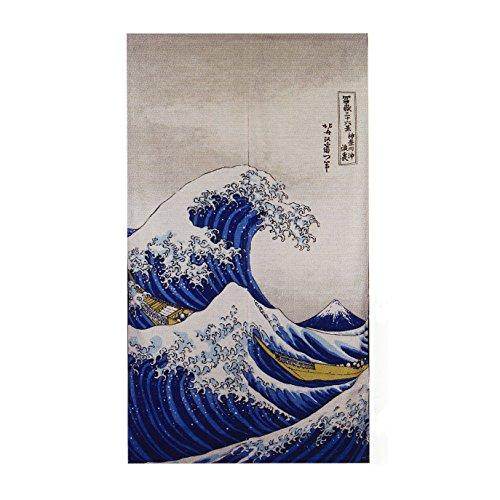 Japan Heavyweight Ukiyoe Noren Curtain Hokusai The Great Wave Kanagawa Rayon Cotton Fabric