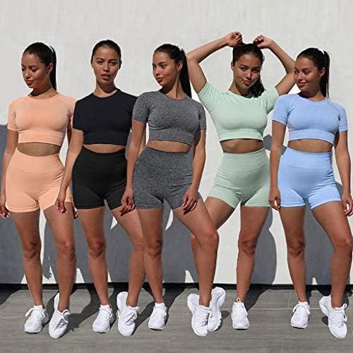 2020 Fashion Womens Sexy Solid Yoga Vest Sports Fitness Set Elastic Tops+Pants 5
