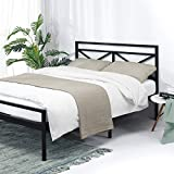 Best Price Mattress King Frame-Presidio 14 Inch Heavy Duty Metal Platform Bed w/Headboard Mattress Foundation (No Box Spring Needed) Black