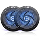 Pyle Marine Waterproof Speakers 6.5' - Low Profile Slim Style Wakeboard Tower and Weather Resistant Outdoor Audio Stereo Sound System with LED Lights and 240 Watt Power - 1 Pair in Black - PLMRS63BL
