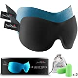 PrettyCare 3D Sleep Mask with 2 Pack Eye Mask for Sleeping - Contoured Eyemask for Airplane with EarPlugs & Yoga Silk Bag for Travel - Best Night Blindfold Eyeshade for Men Women Kids