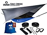 Lost Valley Camping Hammock | Bundle Includes Mosquito Net, Rain Fly, Tree Straps, & Compression Sack | Weighs Only 4 Pounds, Perfect for Hammock Camping | Lightweight Nylon Portable Single Hammock