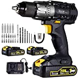 Drill Driver, 20V 1/2' Cordless Drill Set 2x2.0Ah Li-Ion Batteries, 30Min Fast Charger 4.0A, 29pcs Accessories, 24+1 Torque Setting, 2-Variable Speed Max Torque 530 In-lbs, Metal Keyless Chuck