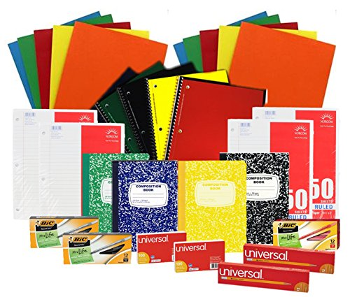Back to School Pens, Pencils, Paper Supply Bundle Box (Wide Ruled)