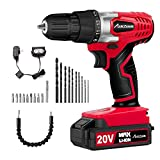 Avid Power 20V MAX Lithium Ion Cordless Drill, Power Drill Set with 3/8' Keyless Chuck, Variable Speed, 16 Position, LED Light and 22pcs Drill/Driver Bits, MW316