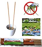 Garden-Guardian Mosquito Repellent Incense Sticks - Artemisia argyi, Pelargonium Graveolens, Thyme and Sawdust - 30 Sticks