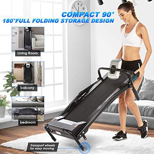 ANCHEER Folding Treadmill, Electric Motorized Treadmill with LCD Monitor, Walking Jogging Running Machine Trainer Equipment for Home & Office Workout Indoor Exercise Machine (Black) 6
