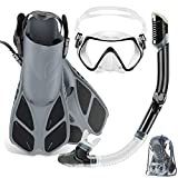 ZEEPORTE Mask Fin Snorkel Set with Adult Snorkeling Gear, Panoramic View Diving Mask, Trek Fin, Dry Top Snorkel +Travel Bags, Snorkel for Lap Swimming (ML/XL) (White, ML/XL)