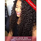 Dreambeauty 360 Lace Front Wig 180% Density Deep Wave Brazilian Virgin Hair 360 Lace Front Human Hair Wigs Pre Plucked Bleached Knots 360 Full Lace Human Hair Wigs for Black Women (16 inch)
