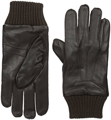 51JInoY%2BgGL Leather gloves with knit trim Pin tucks on back of hands