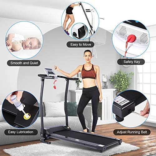 ANCHEER Folding Treadmill, Electric Motorized Treadmill with LCD Monitor, Walking Jogging Running Machine Trainer Equipment for Home & Office Workout Indoor Exercise Machine (Black) 3