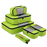 Travel Packing Cubes, Gonex Luggage Organizers L+M+3XS+Laundry Bag Green