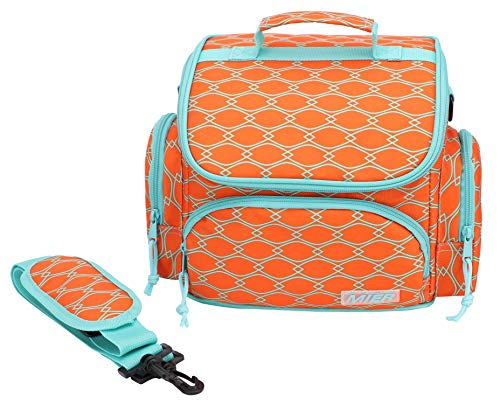 MIER Insulated Lunch Box Bags Soft Cooler Tote for Women Girls, Leakproof Lunch Bag with Shoulder Strap, 9 Can, Orange