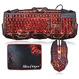 BlueFinger Backlit Gaming Keyboard and Mouse Combo,USB Wired Keyboard Mouse Combo,114 Keys Letters Glow,3 Color Blue/Red/Purple Crack Backlit,Keyboard Mouse Bundle for Computer PC Game Office Work