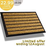 Extra Durable Striped Doormat Outdoor - Rubber Doormat Indoor - Non-Slip Waterproof Doormat Rug (30 x 18) Back Front Doormat - Welcome Mat - Easy Clean Outdoor Doormat - Door Mat Outside/Inside