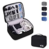 Electronics Organizer Waterproof Carrying Case - Universal Travel Digital Accessories Storage Bag for Portable Charger, Cables, Earphone, Ipad Mini, iPhone, Cord, Customize Inside with Dividers
