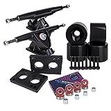 Longboard 180mm Trucks + 70mm Wheels + Bearings Combo SET (Solid / Black / Black)