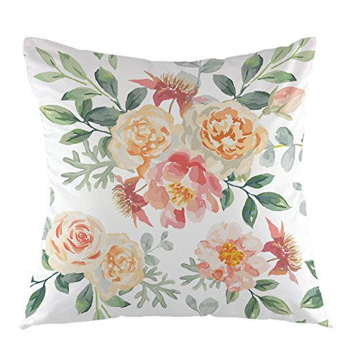 oFloral Flower Decorative Throw Pillow Cover with Shabby Chic Flowers Roses Petals Dots Leaves Buds Pillowcase Square Cushion Cover for Sofa Couch Home Car Bedroom Living Room 18