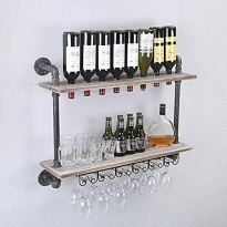 Rustic Metal Pipe Wall-Mounted Wine Rack w/ Glass Holders