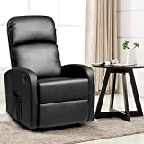 Giantex Massage Rocker Recliner Chair, PU Leather Single Sofa Recliner, Heavy Padded Seat, 5 Vibration Modes, Home Theater Seating for Modern Living Room