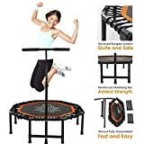Xspec Silent Fitness Mini Trampoline with Adjustable Handrail Bar – Indoor Rebounder for Adults – Best Urban Cardio Jump Fitness Low Impact Workout Trainer, Covered Bungee Rope System