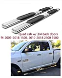5' Oval Running Boards Stainles Nerf Bars Side Steps for 2009-2018 Dodge Ram 1500 Quad Cab (2 3/4 Size Rear Doors)(N0 2019), 2010-2018 Dodge Ram 2500 3500 Quad Cab (NO 2019)