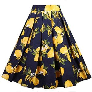 Dressever Women's Vintage A-line Printed Pleated Flared Midi Skirts 6 Fashion Online Shop Gifts for her Gifts for him womens full figure