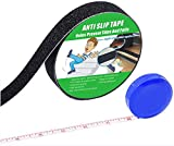 Anti Slip Tape , High Traction,Strong Grip Abrasive , Not Easy Leaving Adhesive Residue , Indoor & Outdoor, with Measuring Tape (1' Width x 190' Long, Black)