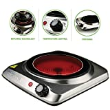 Ovente Countertop Infrared Burner – 1000 Watts – 7 Inch Ceramic Glass Single Plate Cooktop with Temperature Control, Non-Slip Feet – Indoor/Outdoor Portable Electric Stove – Stainless Steel (BGI101S)