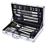 Kacebela BBQ Grill Tools Set, 19-Piece Premium Stainless Steel Barbecue Grilling Utensils with Aluminum Case, Spatula, Tongs, Forks, Skewers, Grill Brush
