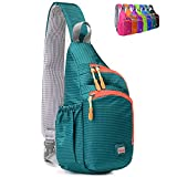 Peicees Small Crossover Travel Sling Bags Girls Sling Backpack Chest Crossbody Bike Gym Daypack Waterproof Shoulder Bag with Water Bottle Holder&Strap Pocket for Teens Kids Men and Women(Turquoise)
