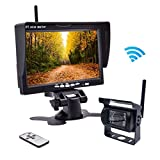"""Wireless Backup Camera,Rear View Camera and Monitor Kit Waterproof Parking Assistance System for Car/Truck /Mini Van/Caravan / Trailers/Camper with 7"""" HD LCD Night Vision RC 12V-24V Accfly (L)"""