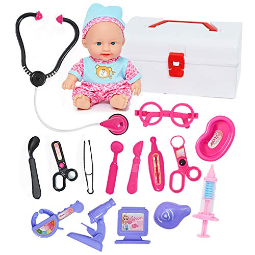 Doctor Kit for Kids with Doll & Doctor Playset Toy - 16pcs Medical Tools with a Sturdy Gift Case for Boys Girls Toddlers