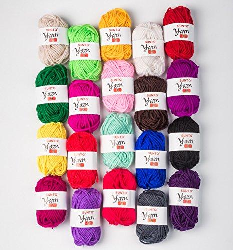 SUNTQ 100% Acrylic Yarn 20 Assorted Colors Skeins Bonbons Yarn for Crochet & Knitting Assorted Rainbow Variety Colored Assortment