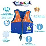 SwimSchool New & Improved Swim Trainer Vest, Flex-Form, Adjustable Safety Strap, Easy on and Off, Medium/Large, Up to 50 lbs., Blue/Orange