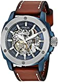 Fossil Men's Stainless Steel Automatic-self-Wind Watch with Leather Calfskin Strap, Brown, 24 (Model: ME3135