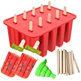 Popsicle Molds, Ouddy 10-Cavity Silicone Homemade Ice Pop Molds & A Silicone Funnel with 50 Pcs Wooden Sticks, Red