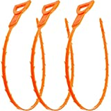 Vastar 19.6 Snake Hair Drain Clog Remover Cleaning Tool, 19.6 Inch, Orange, 3 Pack