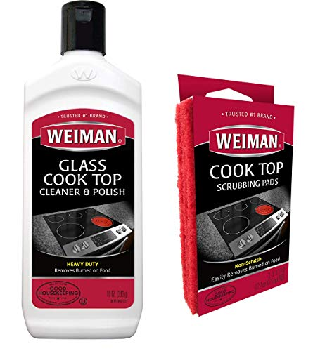 Weiman Ceramic & Glass Cooktop Cleaner - Heavy Duty Cleaner and Polish [ 10 Ounce Bottle and 3 Scrubbing Pads ]
