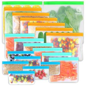 VEHHE 20 Pack Reusable Storage Bags (2 Gallon Ziplock Bags + 6 Reusable Snack Bags + 6 Reusable Freezer Bags + 6 Sandwich Bags) Leakproof Food Bags For Lunch Travel Cosmetic