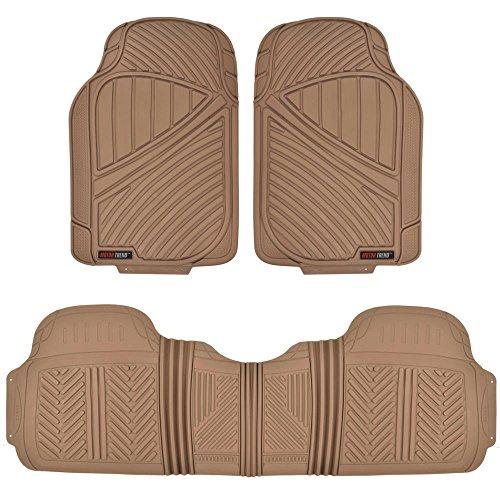 Motor Trend FlexTough Baseline - Heavy Duty Rubber Car Floor Mats, 100% Odorless & BPA Free, All Weather (Tan Beige) - MT773BGAMw1